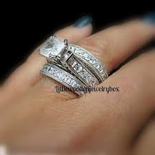 engagement rings and wedding band sets 925 sterling silver 14k princess diamond cut engagement ring
