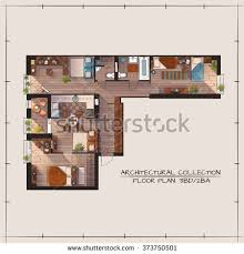 Color Floor Plan Architectural Color Floor Plan Bedrooms Apartment Stock Vector