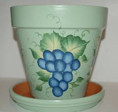 How To Make Clay Vases By Hand Hand Painted Clay Flower Pot One Stroke Grapes Design 8 Inches