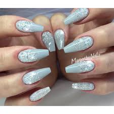 grey glitter ombré coffin nails margaritasnailz pinterest