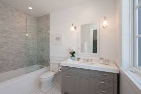 Wainscoting Over Bathroom Tile Contemporary Full Bathroom With Limestone Tile Counters U0026 Tiled