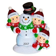 personalized snowman family ornament family of 3