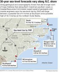 Map Of Oak Island Nc 30 Year Sea Level Rise Will Vary Along Nc Coast Scientists Say