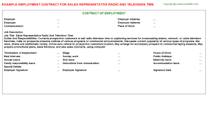 sales representative radio and television time employment contract