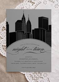 wedding invitations nyc new york city skyline on the town bachelorette party