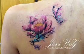 watercolor lotus with butterfly on left back shoulder
