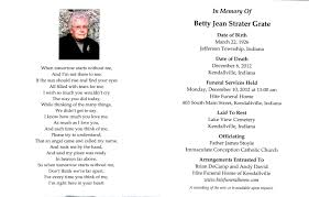 Program For Funeral Service Acgsi Funeral Card Collection