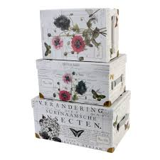 set of 3 trunk style decorative storage boxes tri coastal designs