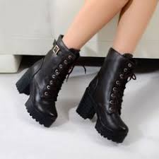 womens boots on ebay womens rock lace up studded block chunky heel platform
