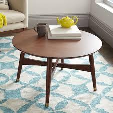 mid century round coffee table reeve mid century coffee table walnut west elm on sale 319