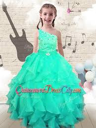 modest ball gown one shoulder pageant dresses for kid with beading