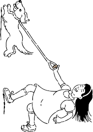 walking the dog coloring pages kids