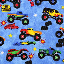 blue car fabric boys monster truck madness fabric boys