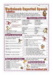 english teaching worksheets reported speech