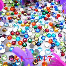 rhinestone trimming promotion shop for promotional rhinestone a1 a17 13 sizes ss3 ss50 nonhotfix fancy colors round shape flatback glass crystal rhinestones glue on beads garment diy trim