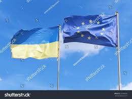 Flags And Flagpoles Flags European Union Ukraine Waving On Stock Foto 357980393