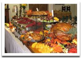 buffet table decoration for thanksgiving with turkey
