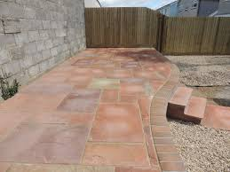 Patio Slabs Bridgend Cwm Llynfi Bricklaying Harvest Natural Slabs On Curve Wall With