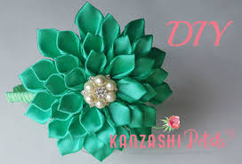 ribbon flowers kanzashi dahlia flower headband tutorial diy fabric flowers from