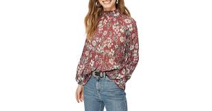 tunic blouse lyst topshop floral pleat tunic blouse in