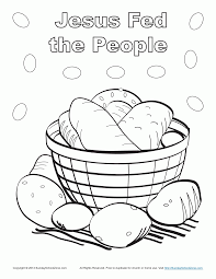 jesus feeds 5000 people coloring page and coloring pages eson me