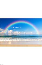 sunrise over beach wall mural beautiful sea with a rainbow in the sky wall mural