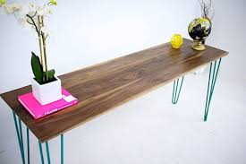 hairpin leg console table buy a custom made walnut console table teal hairpin legs mid