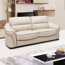 Longdon Pale Ivory Cream Leather Sofa Collection With Black Piping - Cream leather sofas