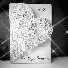 bling wedding invitations heart shaped invite cut out glitter silver lace bling
