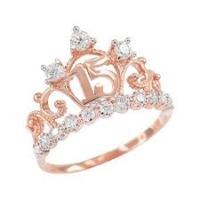rings rose gold images 14k rose gold cz studded crown sweet 15 anos jpg