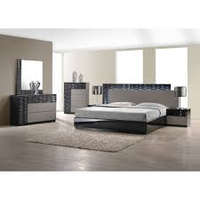 bedroom white leather padded modern platform set high class