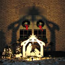 amazon com teak isle christmas outdoor nativity set yard