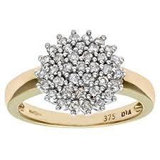 ladies rings diamond images Naava 9ct yellow gold diamond cluster ladies ring amazon co uk jpg