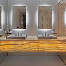 impressive unique bathroom vanities with led backlit wall mirror