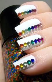 galactic lacquer nail rainbow rhinestones on white