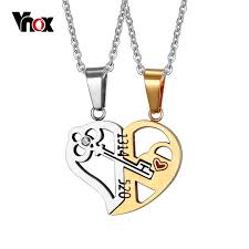 heart necklace with key images Vnox key lock heart shape necklace for women men pendant couple jpg