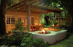 Backyard Feature Wall Ideas Circle Fire Feature Wall Concrete Fire Pit Bonick Landscaping