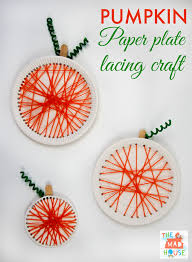pumpkin paper plate lacing craft yarns child and craft