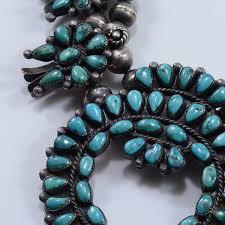 natural turquoise necklace images Vintage zuni squash blossom necklace with natural turquoise petit jpg