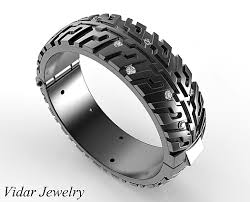 black fashion rings images Hinged wedding band black gold tire tread diamond ring vidar png