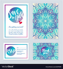 wedding invitations in delicate wedding invitations in ethnic indian vector image