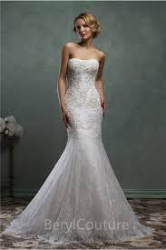 mermaid strapless vintage lace wedding dress with detachable long