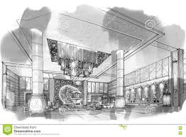 Interior Design Sketches by Sketch Perspective Interior Lobby Black And White Interior
