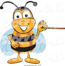 stock cartoon of a grinning bee mascot cartoon character holding a