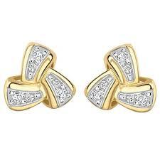 gold and diamond earrings diamond yellow gold jewellery ernest jones