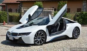 bmw hybrid sports car driven bmw i8 in hybrid sports car in milan