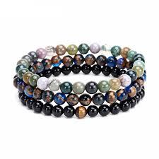colored stone bracelet images Handmade multi colored semi precious stone bracelet 3 pc set jpg