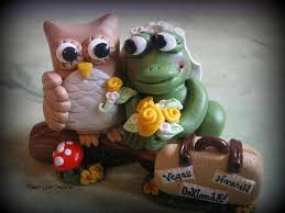 wedding cake topper owl and frog custom personalized polymer