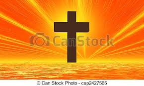 black cross in orange background sky and sea with sunrays stock