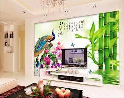 custom mural 3d wallpaper photo peony peacock bamboo home decor